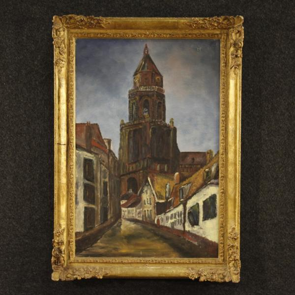 Dutch signed painting View of cathedral