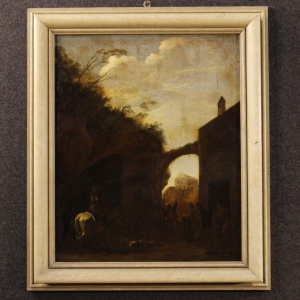 Antique Dutch landscape painting from 18th century