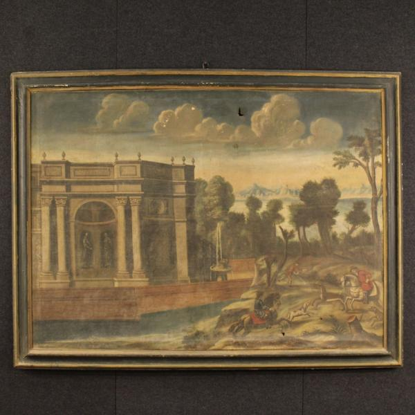 Antique Italian painting landscape with architecture 18th century
