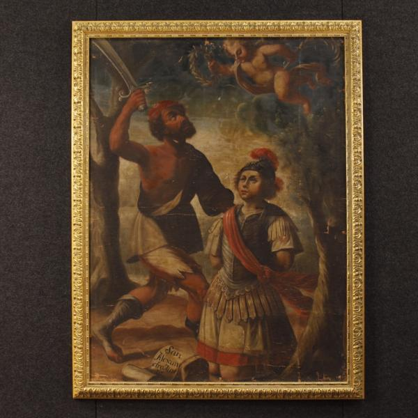 Antique painting Martyrdom Saint Alexander from Bergamo 18th century
