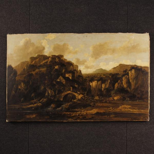 Italian painting landscape with ruins and characters