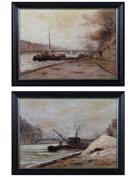 MORIZET Paul Louis 1860 /?, Pair of seascapes, late 19th, the Seine