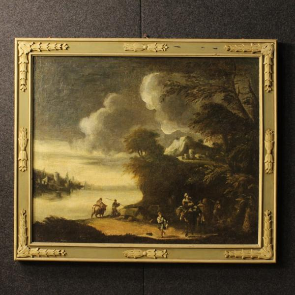 Antique Italian painting landscape with characters 18th century