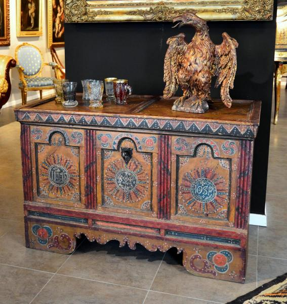 'Cassone' Wedding Chest In Painted Wood, Tyrol, 18th Century