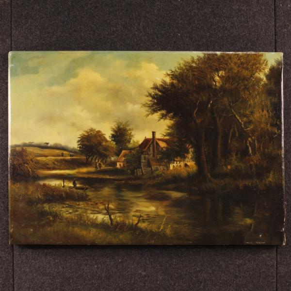 Antique Dutch signed painting landscape with characters 19th century