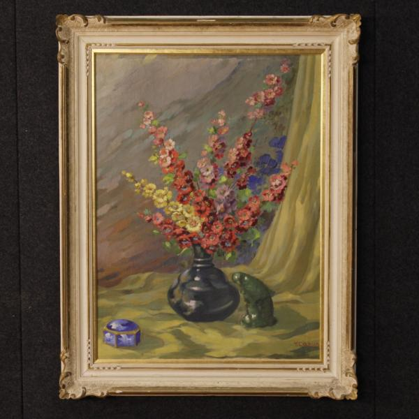 Italian still life painting vase with flowers oil on canvas