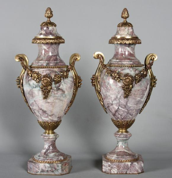 Large Pair of Cassolette, bronze and marble of the 19th