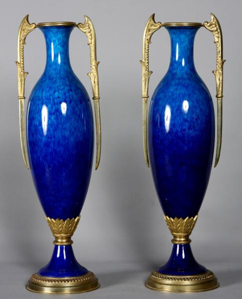 Large pair of Sèvres vases, 19 th century