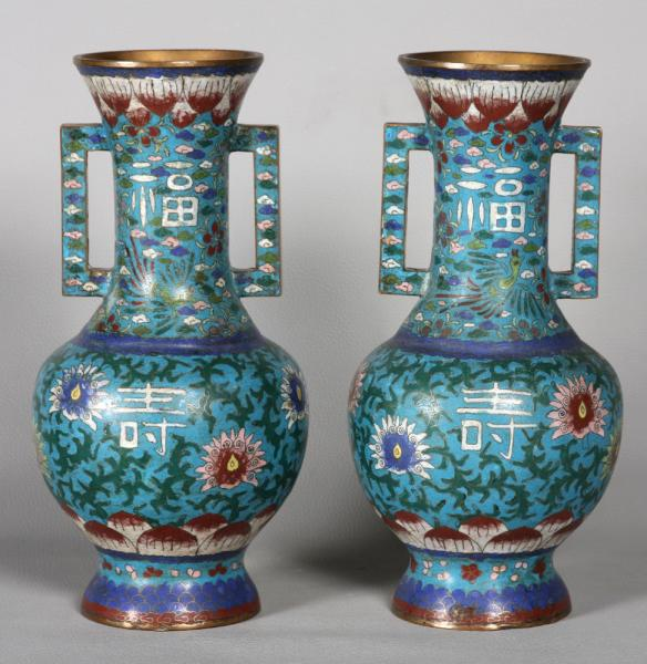 Large pair of cloisonné vase, China, 19th