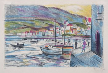 "Lithograph by: GRAU SALA, ""The port of Cadaques"" signe"