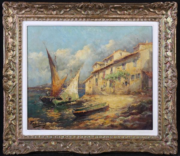 MARTIGUES - Oil on canvas signed Marcel Falcinelli, Marine