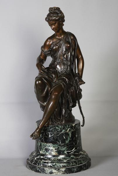 Diana Huntress, Grand bronze of the 19th, signed DUMAIGE
