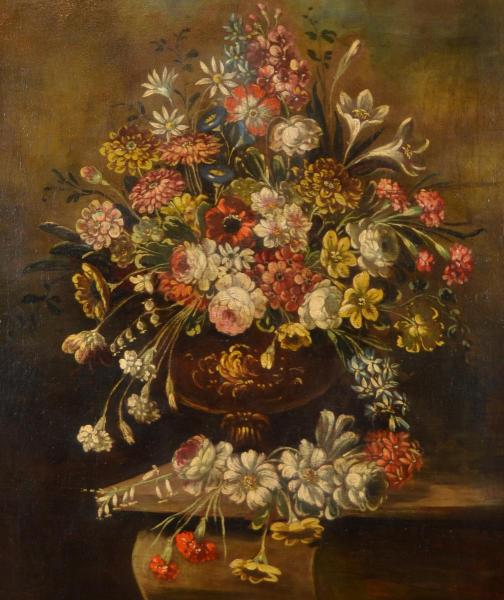 Still Life With Vase Of Flowers, Italian School Of Nineteenth Century