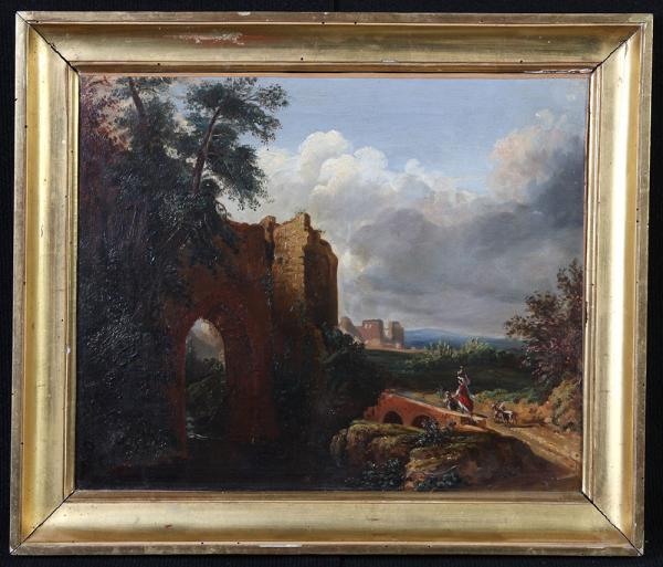 XIXth century landscape, French school, country scene + ruins