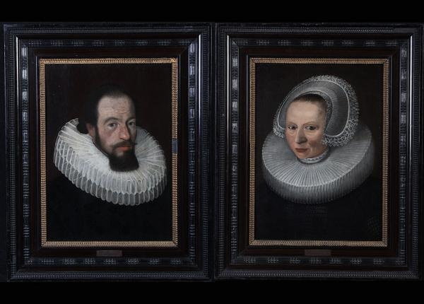 Pieter van Mierevelt 1596/1623, Pair of portraits, Dutch School