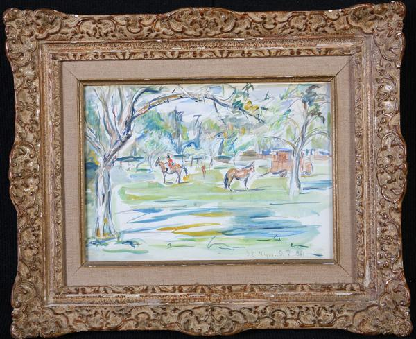 Horses, watercolor signed JCMiquel 1923-2012, Normandy