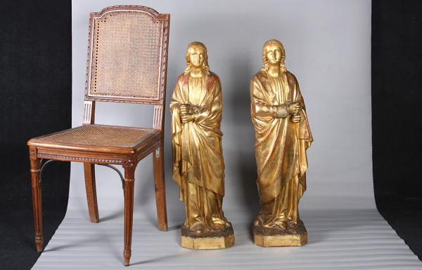 Pair of gilded wood sculptures of the 18th, 80 cm, of the Saints