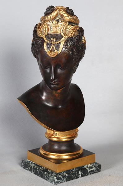 XIXth Bronze, Bust of Diane the Huntress, Bronze after Goujon