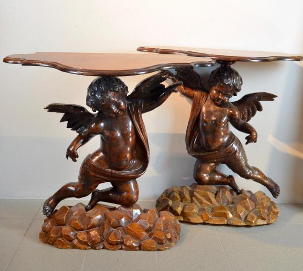 Pair Of Console Tables With Angels, Venetian Sculptor Nineteenth Century