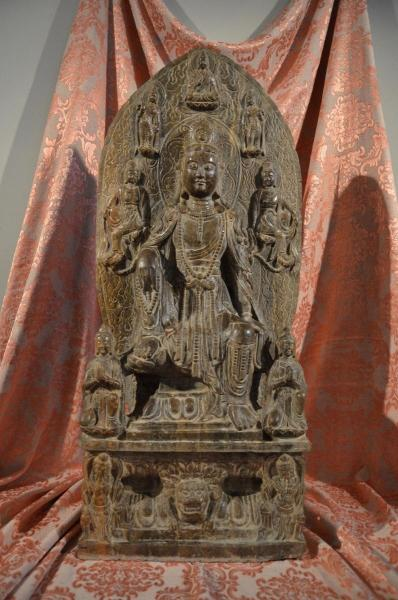 Large Guanyin Botdhisattva Stone Sculpture, China Early 19th Century