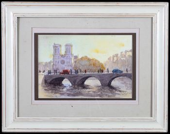 Watercolor, view of Paris, Notre Dame