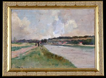 Animated landscape with a river signed Raymond ALLEGRE 1857 / 19