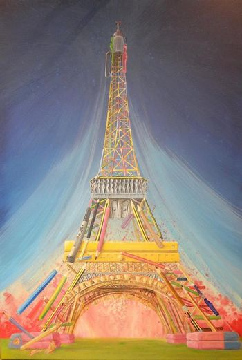 The Eiffel Tower 2015 rebuilt in pencils for Charlie