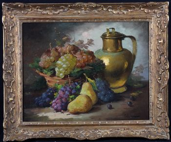 LEBRUN - Still life with grapes - French School of the XIXth cen