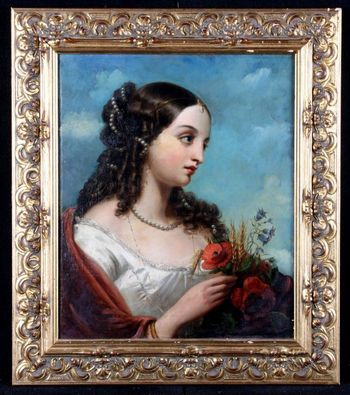 Charles BAXTER 1809/1879 - Portrait of a young girl with wild flowers