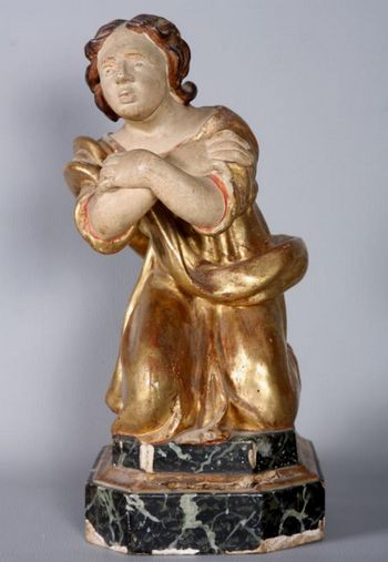 "Large 18th century gilt wood sculpture, ""Saint"""