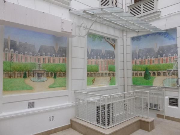 The Place des Vosges, panoramic in a courtyard d