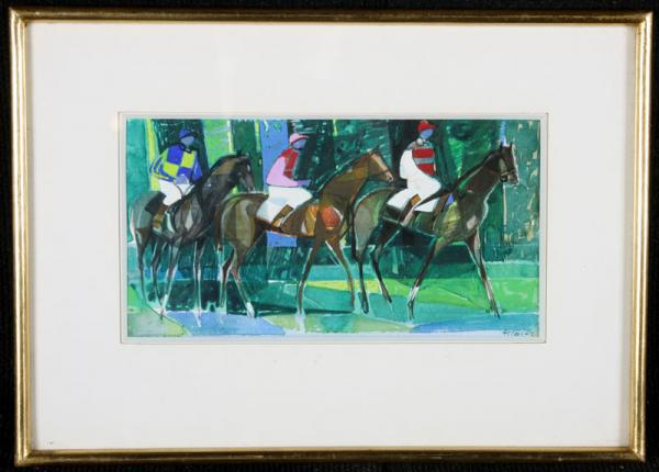 Camille HILAIRE 1916/2004 - Jockeys at the race course - E