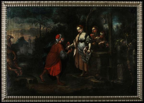 Flemish School of the 17th, Rebecca and Eliezer, Large format
